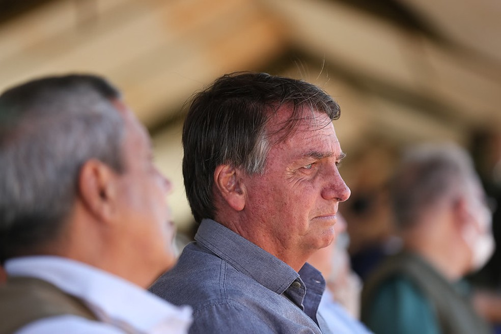 Bolsonaro durante demonstração operativa da Operação Formosa, em Goiás, em 17 de agosto. — Foto: Marcos Corrêa/PR