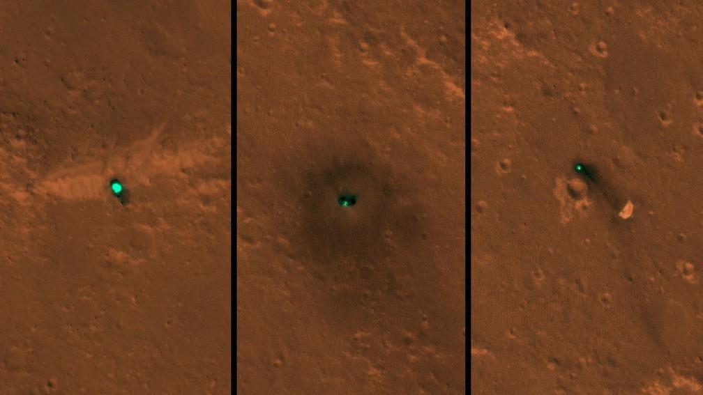 A nave espacial InSight da Nasa, seu escudo térmico e seu paraquedas foram fotografados em 6 e 11 de dezembro pela câmera HiRISE a bordo do Mars Reconnaissance Orbiter da Nasa. — Foto: NASA / JPL-Caltech / Universidade do Arizona.