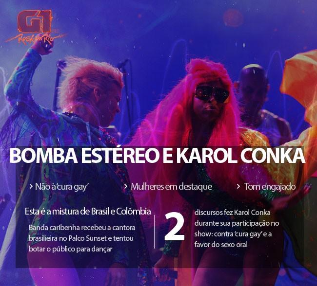 Com Bomba Estéreo, Karol Conka discursa contra homofobia, 'cura gay', machismo e a favor de sexo oral na mulher