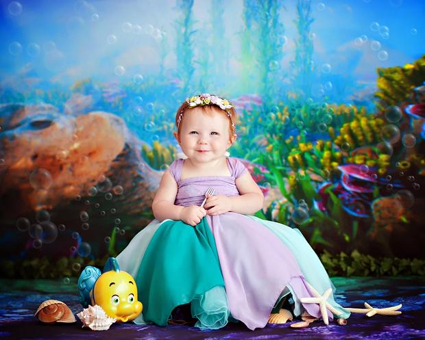 Ariel, de A Pequena Sereia, com 1 ano de idade (Foto: Karen Marie)