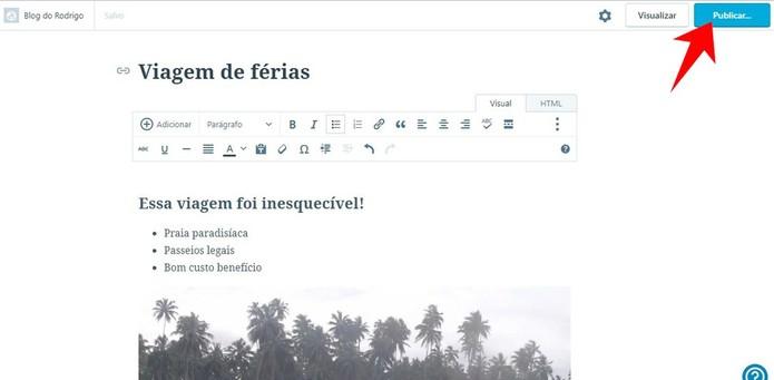 Publique seu novo post no WordPress (Foto: Reprodução/Rodrigo Fernandes)
