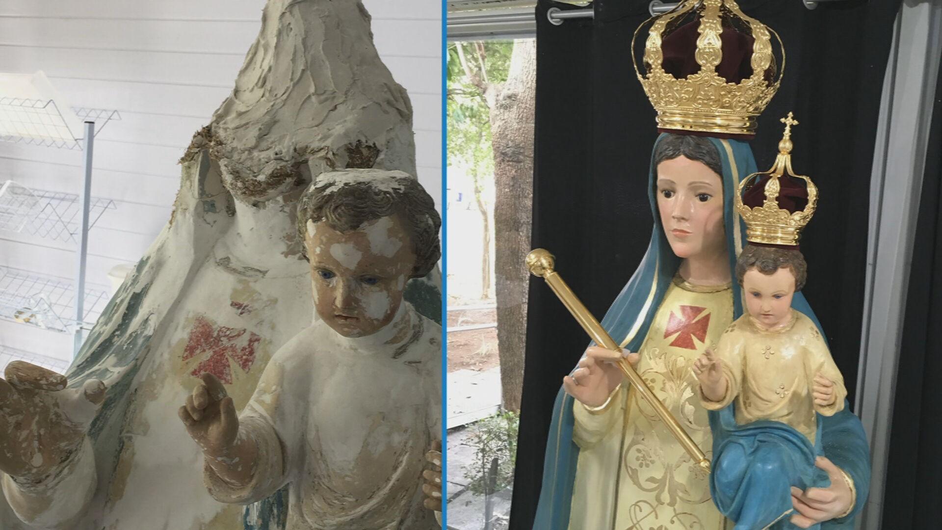 Museu de Arte Sacra de SP restaura parte das imagens de santos que foram vandalizadas em igreja de Osasco
