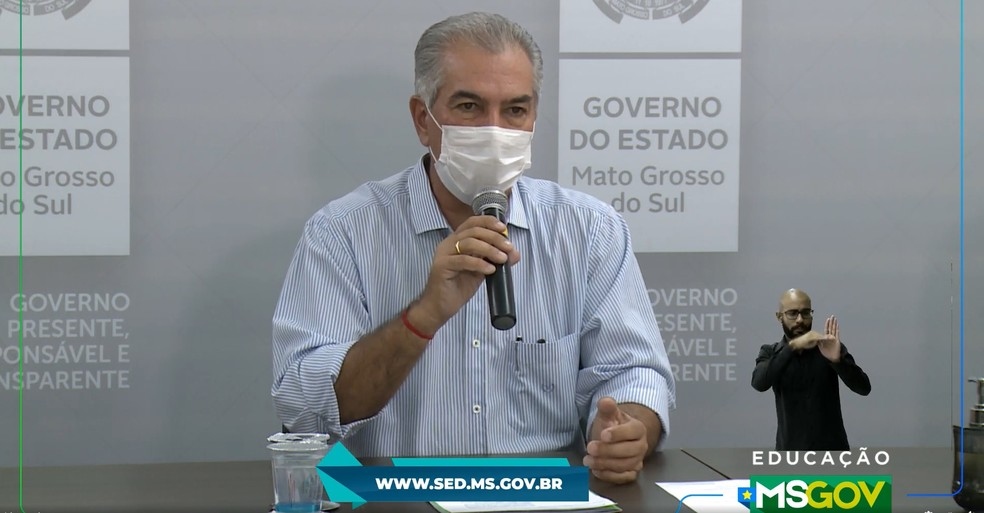 Governador Reinaldo Azambuja anuncia que não haverão aulas presenciais na Rede Estadual de Ensino de Mato Grosso do Sul em 2020 — Foto: Redes Sociais