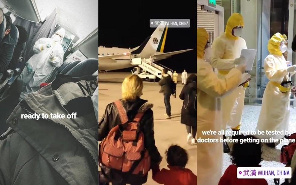 Imagens de brasileiros que saíram de Wuhan, na China, para Anápolis Goiás Brasil — Foto: Reprdução/Instagram
