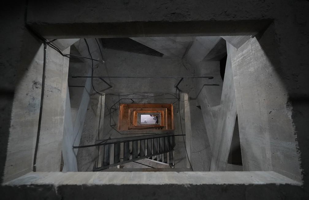 Interior do Cristo Redentor tem 13 andares  — Foto: Marcos Serra Lima/g1