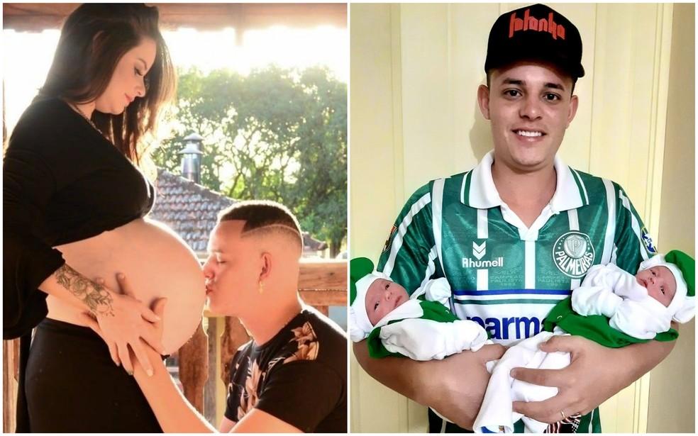 Filhos gêmeos de grávida que morreu com Covid-19 após parto têm alta do hospital; casal é de Macatuba (SP) — Foto: Diego Rodrigues/Arquivo pessoal