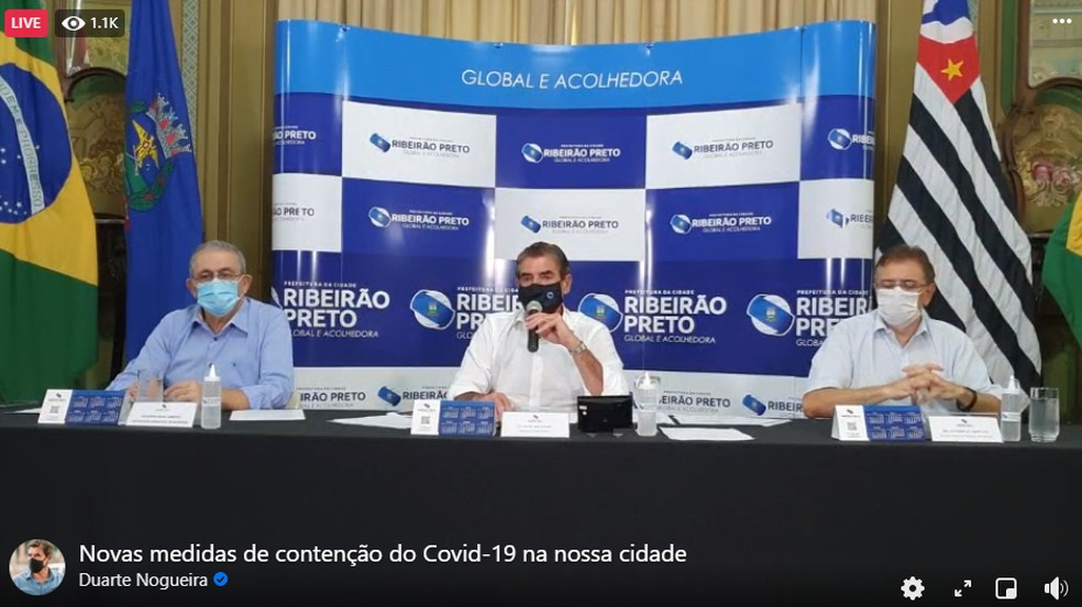 Duarte Nogueira anuncia fechamento de atividades essenciais e restrição na circulação de pessoas em Ribeirão Preto — Foto: Reprodução/Facebook