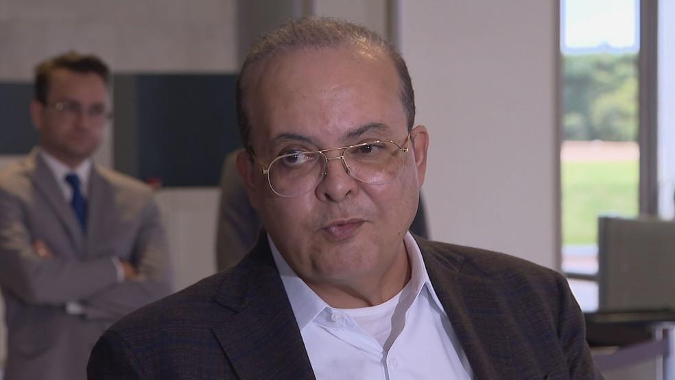 Governador Ibaneis Rocha no Palácio do Planalto — Foto: TV Globo/Reprodução