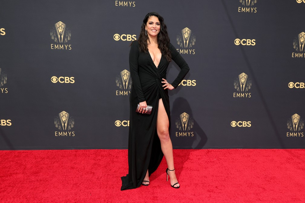 Cecily Strong chega ao Emmy 2021 — Foto: Rich Fury/Getty Images North America/Getty Images via AFP