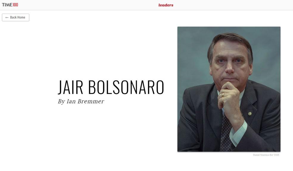 Presidente Jair Bolsonaro aparece em lista das 100 pessoas mais influentes da Revista Time — Foto: Revista Time/ Reprodução