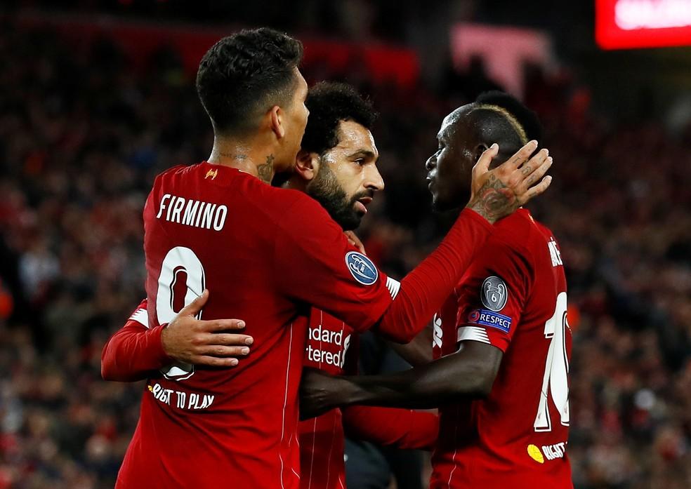 Firmino, Salah e Mané: trio estará presente no Mundial de Clubes — Foto: Reuters/Jason Cairnduff