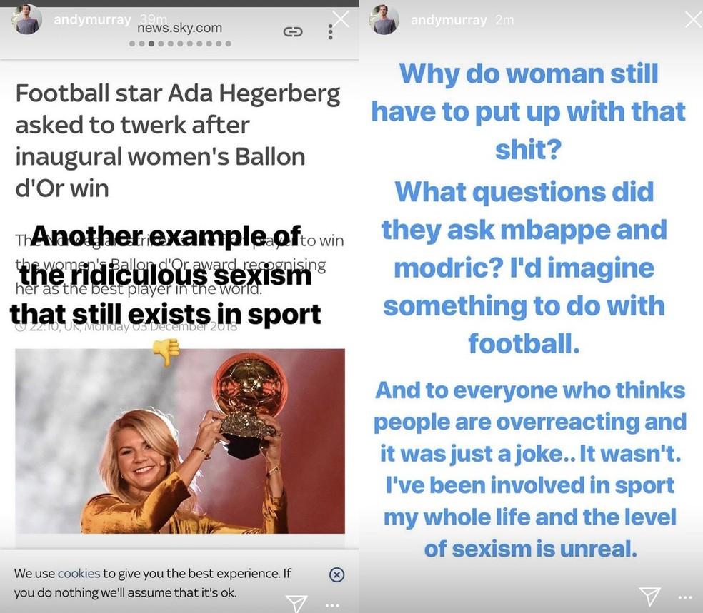 Andy Murray Sexismo ? Foto: Reprodução/Instagram