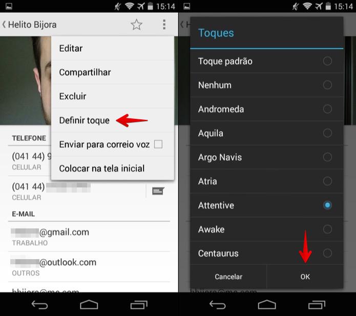 Escolhendo toque personalizado para o contato (Foto: Reprodução/Helito Bijora)