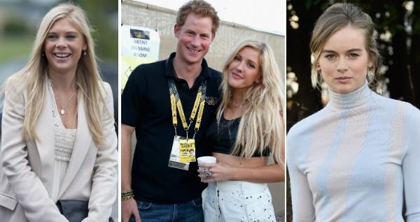O Príncipe Harry com as três ex-namoradas que serão convidadas para seu casamento com Meghan Markle (Foto: Getty Images)