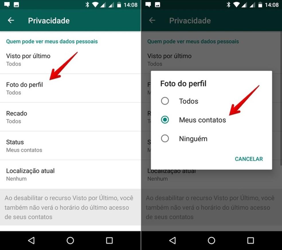 Alterando privacidade da foto de perfil do WhatsApp — Foto: Reprodução/Helito Beggiora