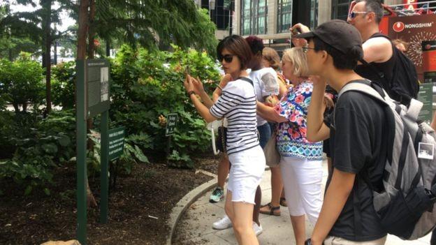 BBC - Um grupo de turistas fotografa uma placa marcando a localização do mercado de escravos da cidade de Nova York (Foto: BBC)