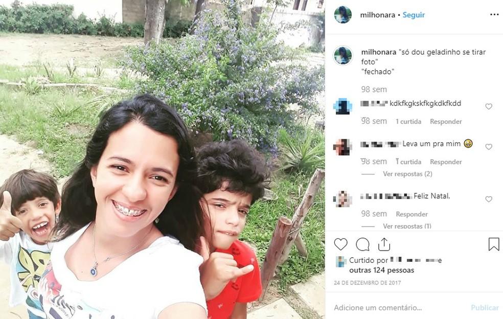 Narjara e os filhos em Vitória da Conquista — Foto: Reprodução/Redes Sociais