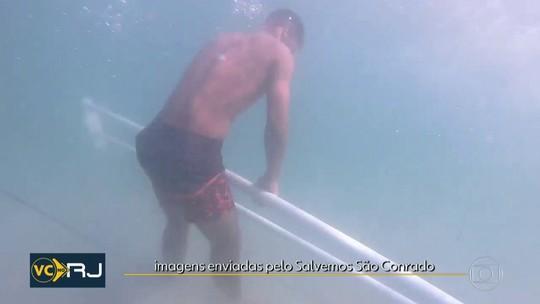 Surfistas encontram pedaços da ciclovia Tim Maia no mar