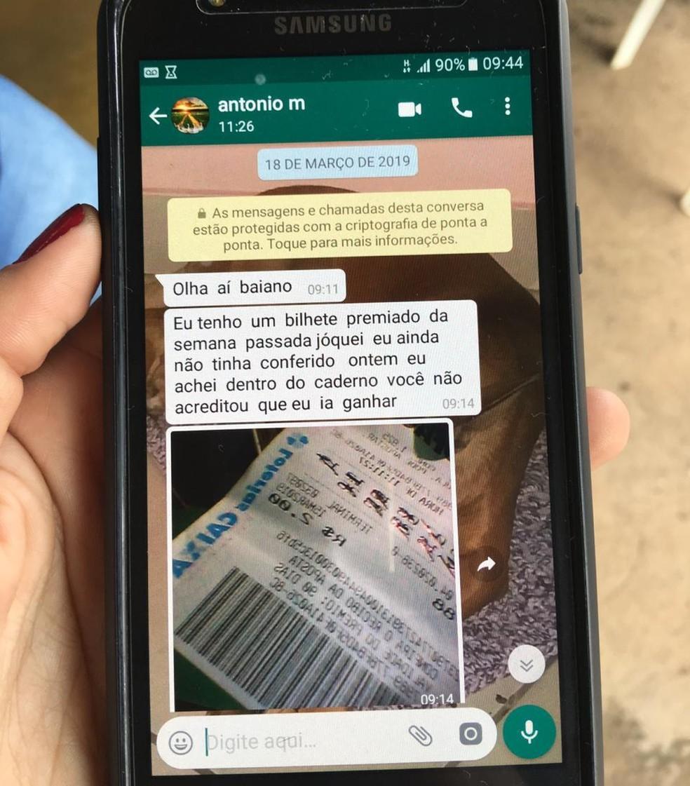 Mensagem de WhatsApp enviada por suspeito de feminicídio para o patrão, no DF, antes de desaparecer — Foto: Polícia Civil/ Divulgação