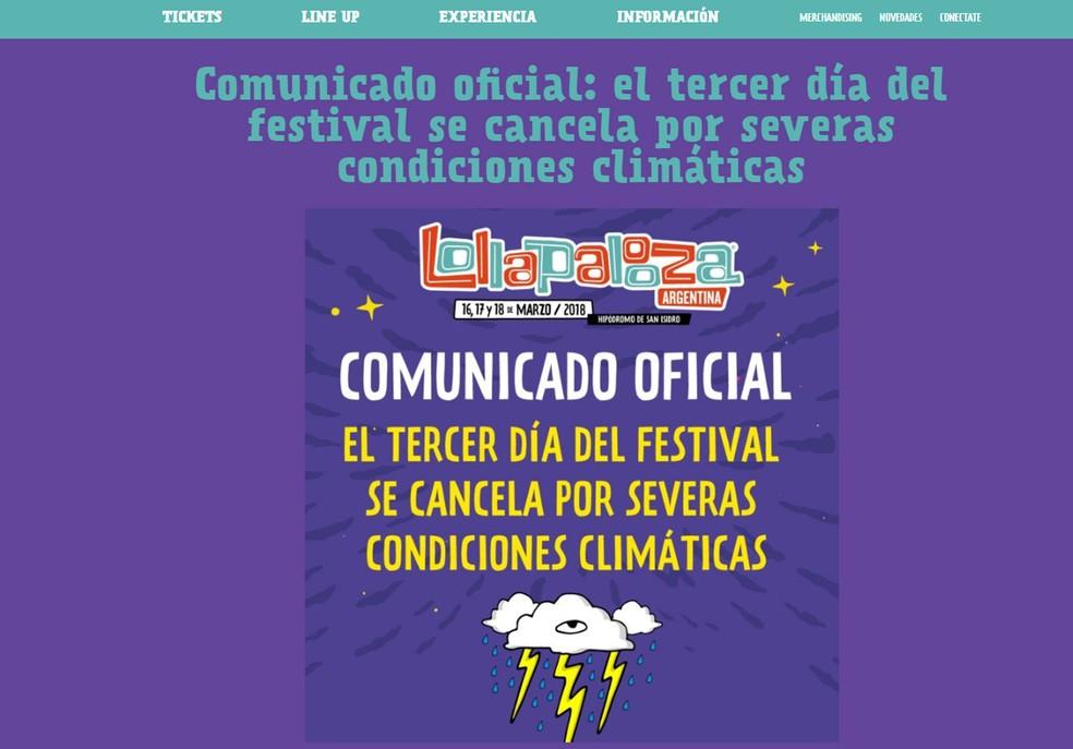 Lollapalooza Argentina cancela terceiro dia por conta de tempestades