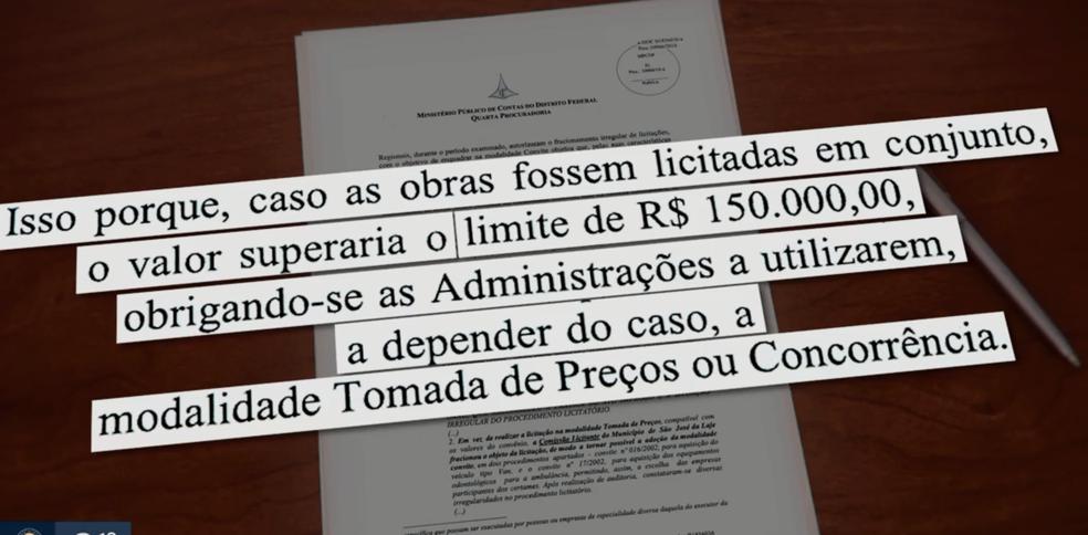 Texto do relatório de auditoria do TCDF (Foto: TV Globo/Reprodução)