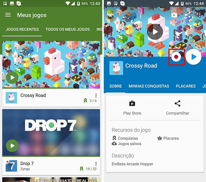 Play Games tem botão para que usuário comece a gravar seu gameplay no Android (Foto: Reprodução/Elson de Souza)