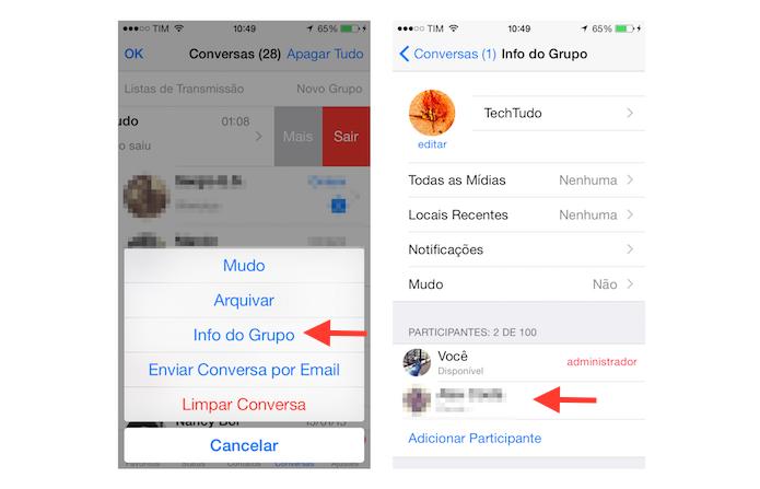 Iniciando o processo para adicionar um novo administrador a um grupo do WhatsApp no iOS (Foto: Reprodução/Marvin Costa)