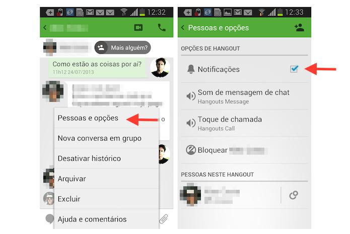 Silenciando uma conversa no Hangouts para Android (Foto: Reprodução/Marvin Costa)