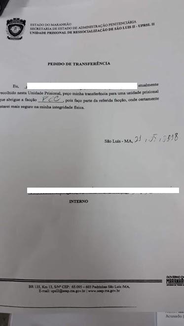 'Formulário' da SEAP aponta pedido de transferência de detento por critério de facção