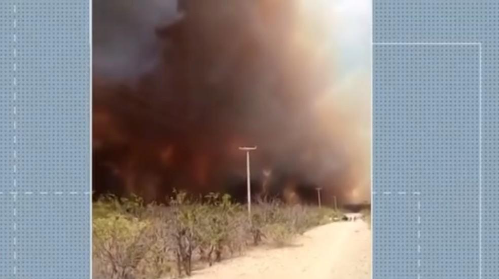 Fogo atingiu área do município de Apodi, na região Oeste do RN — Foto: Reprodução