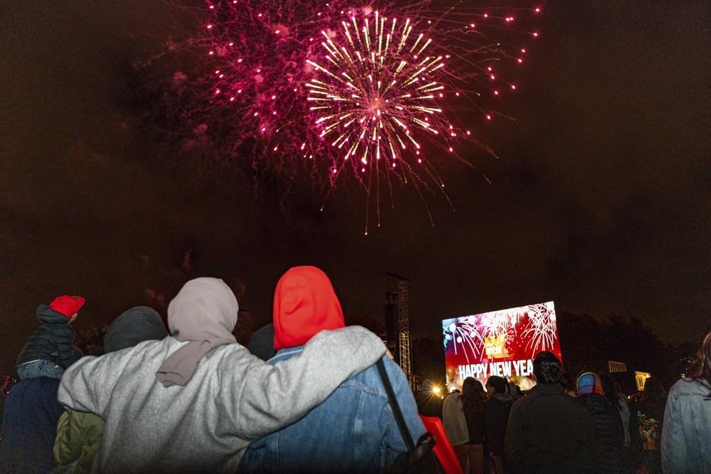 Fogos de artifício explodem no Parque Hagley durante as celebrações do Ano Novo, em Christchurch, Nova Zelândia — Foto: Ernest Kung/AP