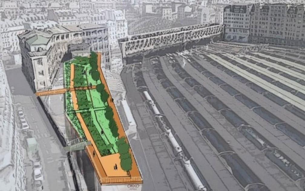 Informe sobre área verde no centro de Paris, futuro Jardim Marielle Franco — Foto: RFI/Patricia Moribe