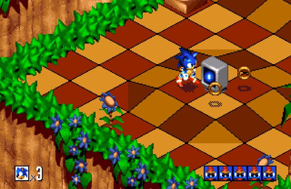 Sonic 3D foi a primeira aparição do ouriço nos jogos em 3 dimensões — Foto: Reprodução/Marcos Silva