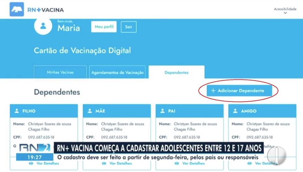 Aba para acrescentar dependentes no RN+ Vacina foi adicionada — Foto: Divulgação
