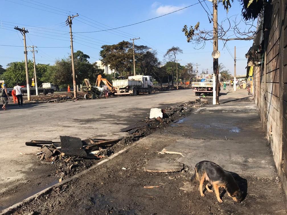 Reintegração de posse é cumprida na Favela do Cimento no entorno do Viaduto Bresser — Foto: Adriano Marques/G1