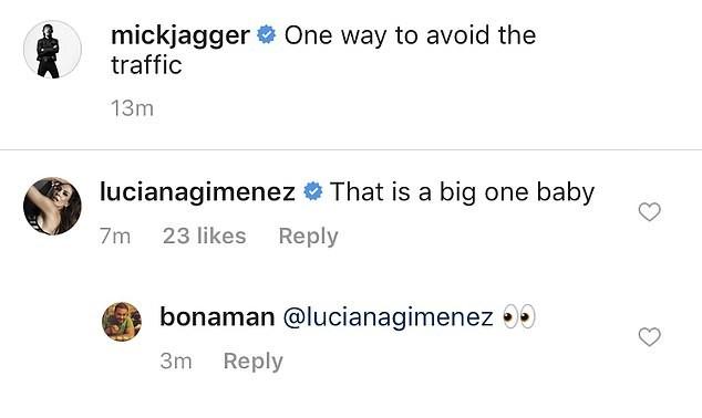 O comentário de Luciana Gimenez na foto compartilhada por Mick Jagger (Foto: Instagram)