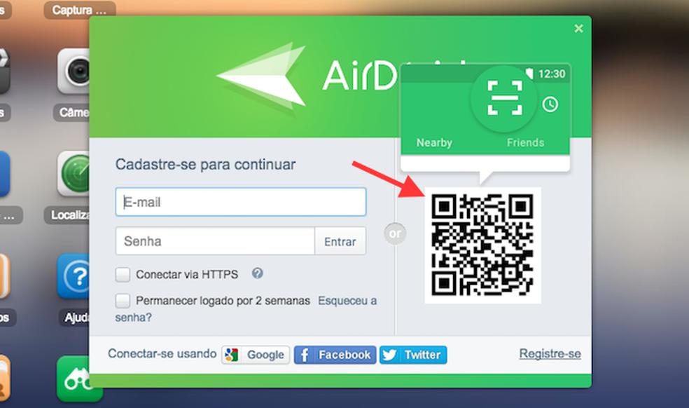 QR code para logar o AirDroid web no navegador web do computador Foto ReproduoMarvin Costa