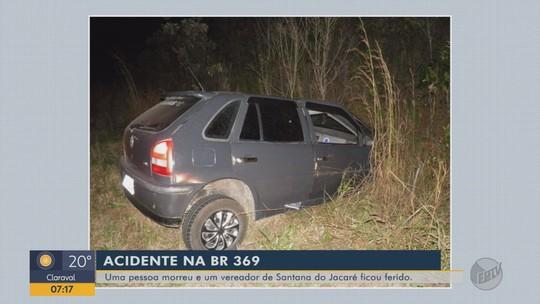 Motorista de carro morre e vereador fica ferido em acidente em Santana do Jacaré, MG