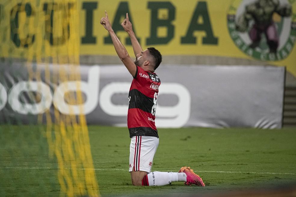 Thiago Maia, autor de um dos dos na vitória do Flamengo sobre o Cuiabá — Foto: Alexandre Vidal/Flamengo