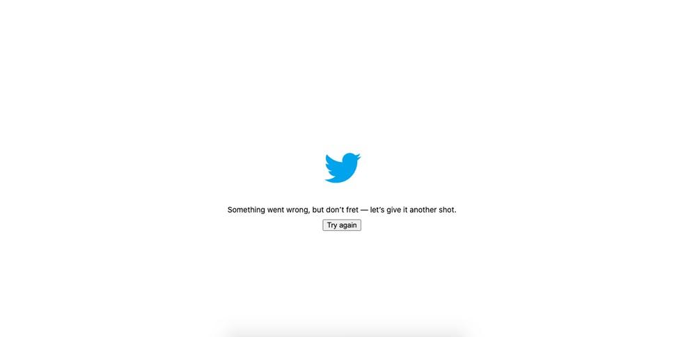 Twitter caiu e exibe mensagem de erro na versão web — Foto: Reprodução/Aline Batista