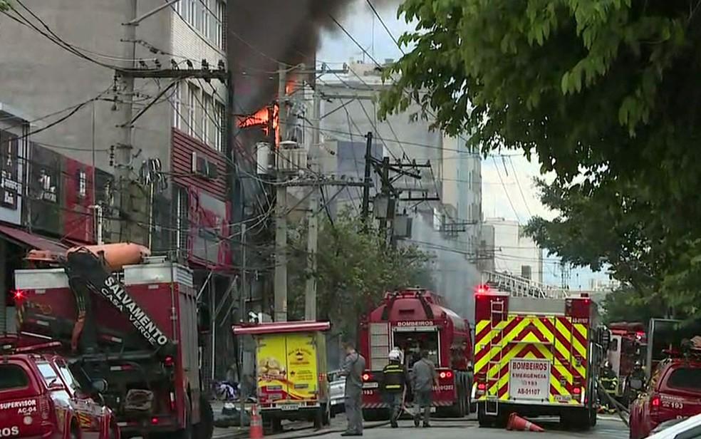 Incêndio no Centro de SP — Foto: Reprodução/TV Globo