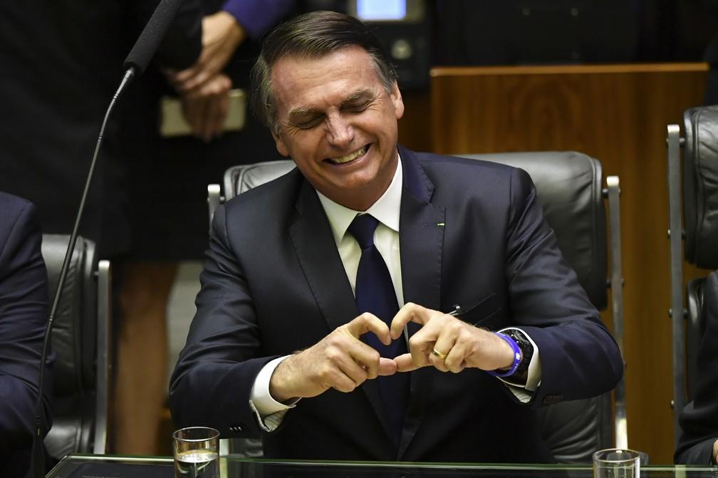 Jair Bolsonaro durante cerimônia de posse — Foto: Nelson Almeida/AFP