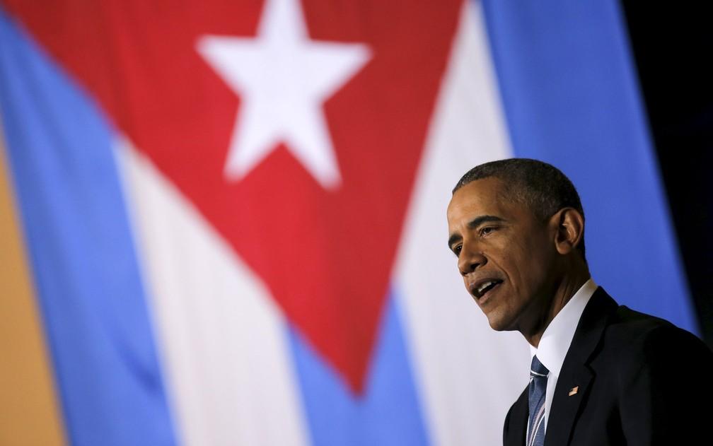 O presidente dos EUA Barack Obama discursa em Havana, Cuba, durante enconro com empresários como parte da visita de três dias ao país — Foto: Carlos Barria/Reuters/Arquivo