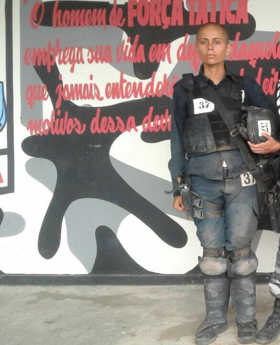A policial militar disse que o curso do Choque é puxado e não privilegia gênero (Foto: Reprodução/Facebook/Ronda Ostensiva Boa Vista - RR)