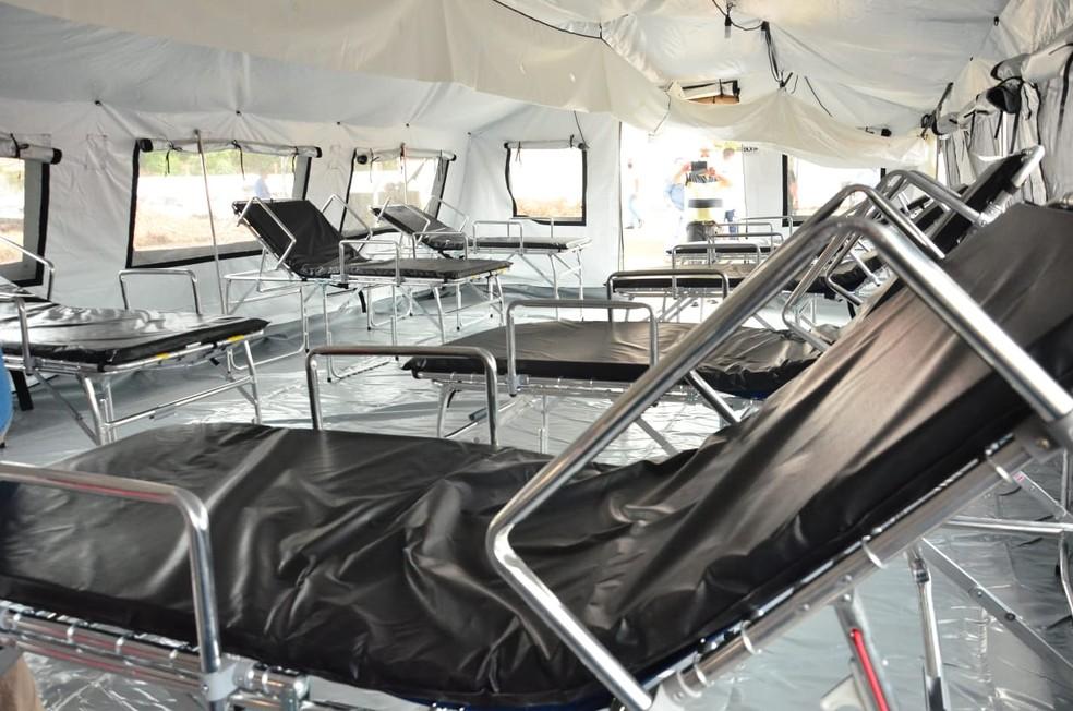 Ao todo, Hospital de Campanha instalado em Bacabal (MA) possui 40 leitos para pacientes com Covid-19. — Foto: Divulgação/Governo do Maranhão