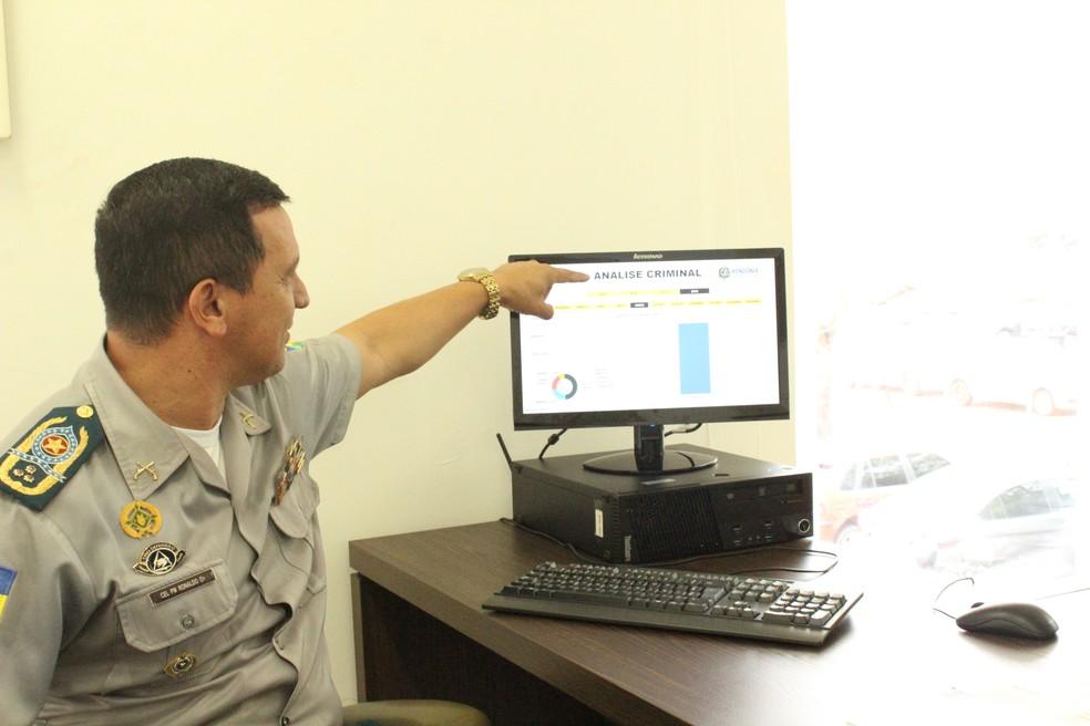 Comandante geral da PM explica como funciona o sistema (Foto: Cássia Firmino/ G1)