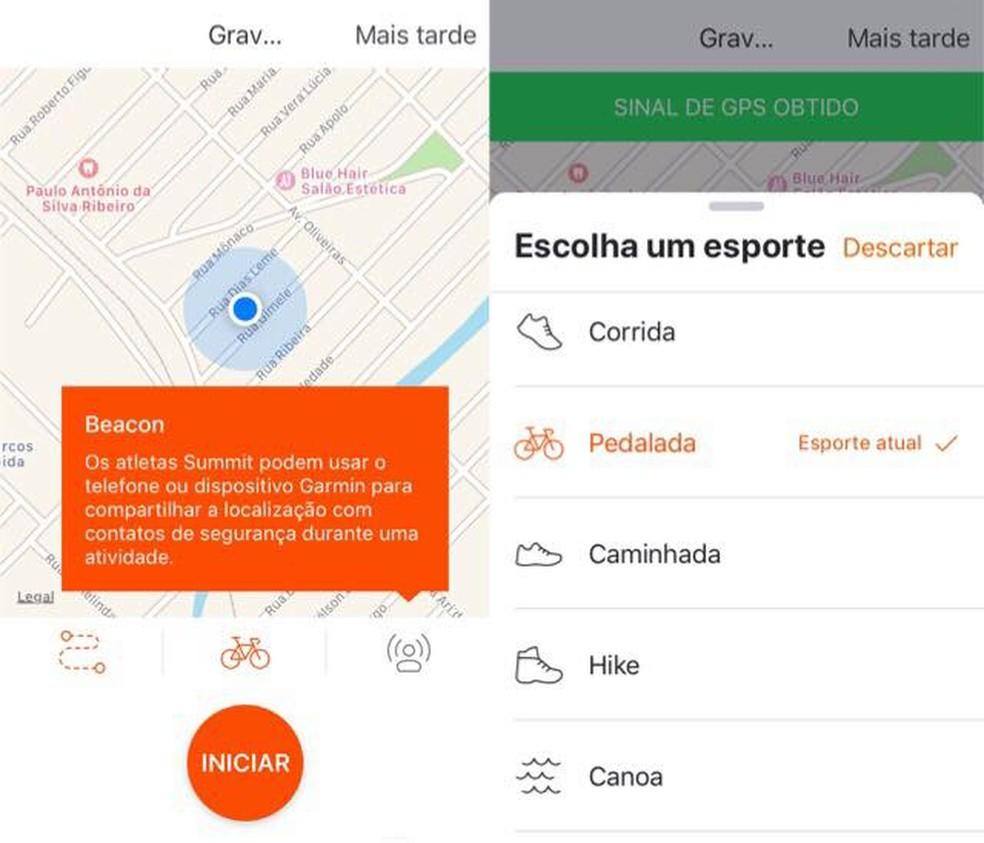 Strava é um aplicativo para emagrecer que monitora atividades físicas — Foto: Reprodução/Julia Marques