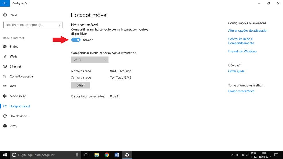 Ativando a função repetidor Wi-Fi no notebook (Foto: Reprodução/Thiago Rocha)