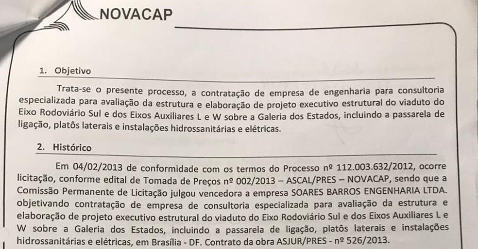 Relatório da Novacap em 2017 sobre contratação de empresa para reforma do viaduto (Foto: Reprodução)