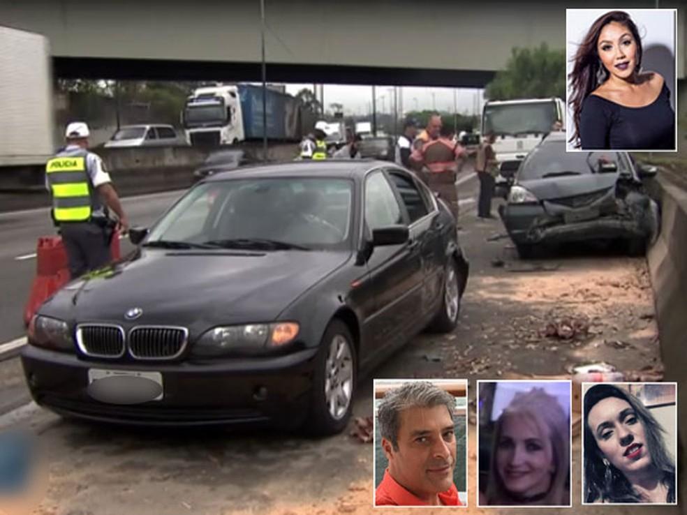 Motorista de Honda, Talita Tamashiro (no alto à direita), atropelou e matou Raul Antonio, Aline Sousa e Vanessa Relva, que estavam em BMW na Marginal Tietê (Foto: Reprodução/TV Globo/Arquivo Pessoal/Facebook)